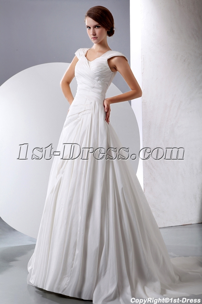 Terrific A-line Taffeta Modest Wedding Gown with Cap Sleeves:1st ...