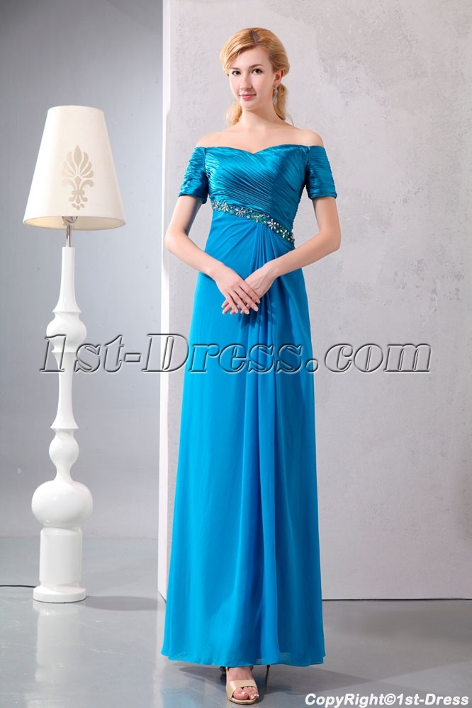 65434526593e Turquoise Off Shoulder Long Mother of Groom Dress with Short Sleeves ...