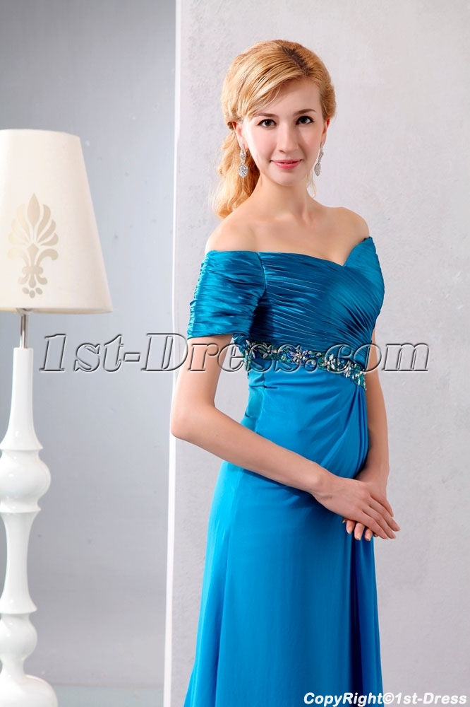 6a8c441affa Turquoise Off Shoulder Long Mother of Groom Dress with Short Sleeves (Free  Shipping)