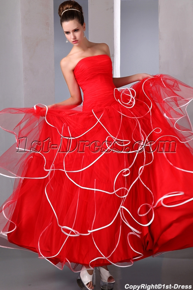 Unique Red and White Quinces Ball Gown Dress 2014:1st-dress.com
