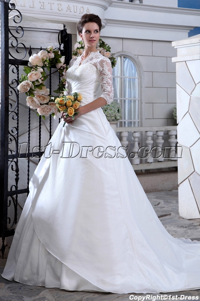 Vintage Lace Long Sleeve Wedding Dress with Keyhole Back:1st-dress.com