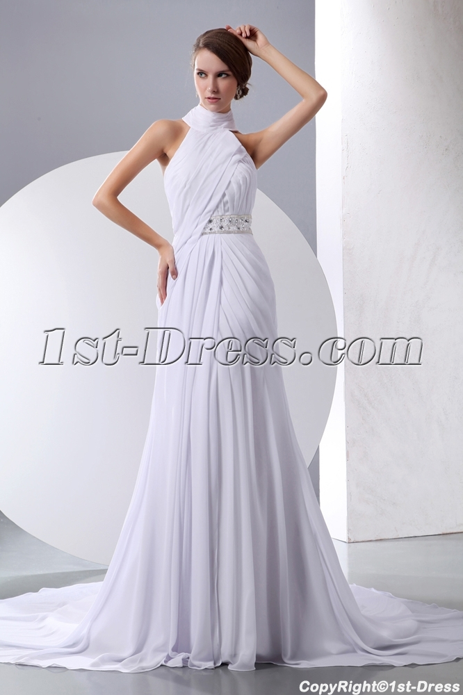 White Halter High Neckline Chiffon Beach Wedding Gown Loading Zoom