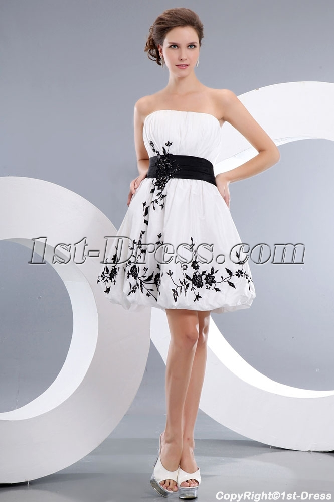340ce800ad329 White and Black Short Strapless Prom Party Dress
