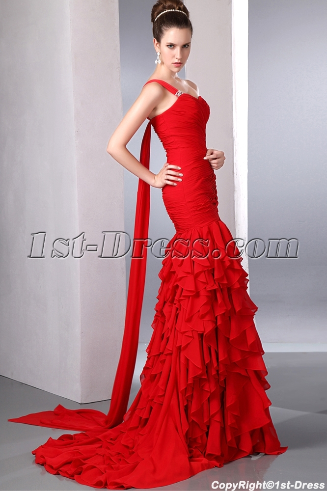 Wholesale Red One Shoulder Long Mermaid 2014 Evening Dress with Shawl