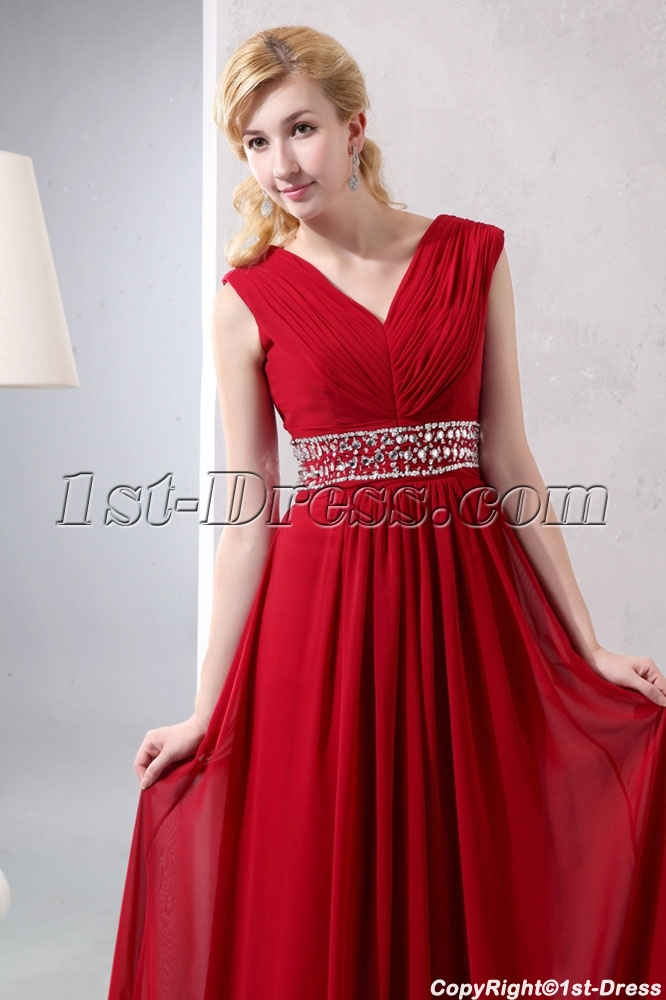 dac91eac973 Wine Red Chiffon Long V-neckline Full Figure Evening Dress $180.00