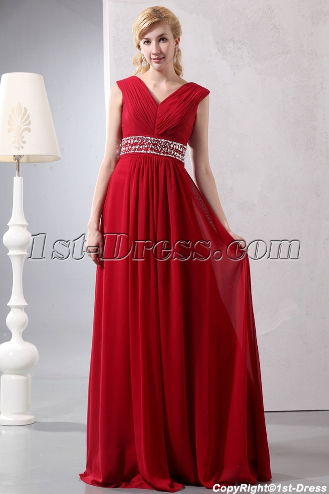 c2496f3c175 Wine Red Chiffon Long V-neckline Full Figure Evening Dress