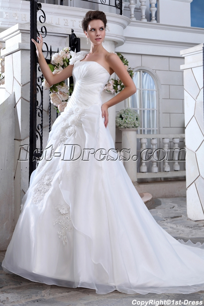 Wonderful A-line One Shoulder Princess Wedding Dresses with Corset ...