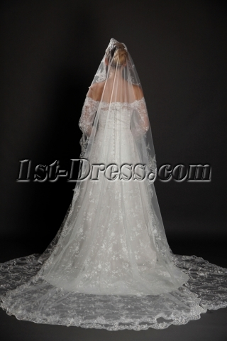 Attractive 1 Layer Cathedral Wedding Bridal Veil with Lace Applique Edge