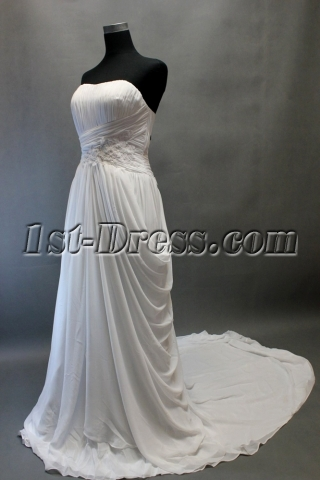 Beach Sweetheart Chiffon Bridal Gown for Mature
