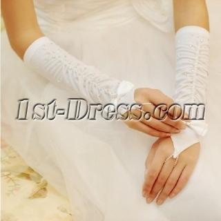Beaded Fingerless Elbow Ruffle Bridal Gloves