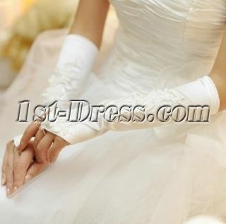 Beautiful Appliques Fingerless Wedding Gloves for Women