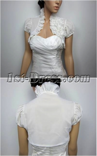 Beautiful High Neckline Taffeta Short Puffed Sleeves Jacket