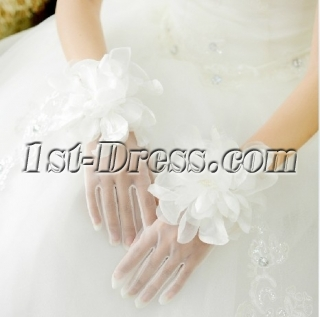 Beautiful Short Flowers Wedding Gloves