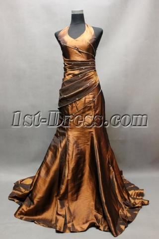 Bronzed Formal Halter Sheath Evening Dress with Train