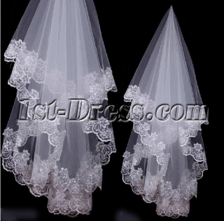 Charming 2 Layers Lace Appliques Fingertip Veils