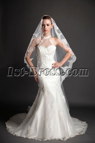 Charming Scalloped Edge Lace Cathedral Wedding Veils
