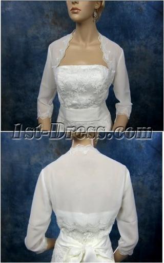 Cheap 3/4 Long Sleeves Chiffon Short Jacket