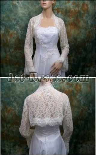 Cheap Butterfly Long Sleeves Lace Wedding Bolero