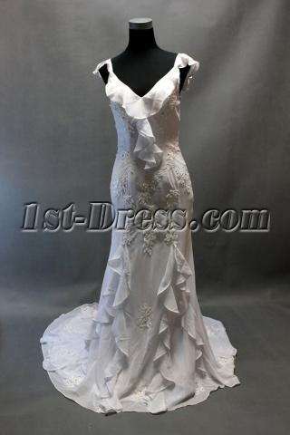 Cheap Romantic White Ruffled Beach Wedding Dress