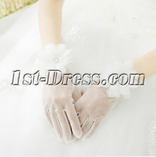 Chic Fingertips Short Wedding Gloves with Flowers