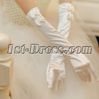 Classic Long Bows Fingertips Gloves Wedding