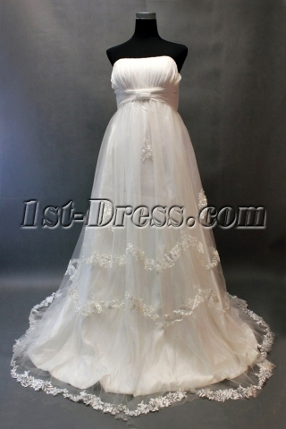 Classic Strapless Lace Edged Maternity Wedding Gowns