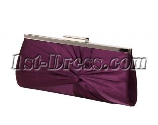 Dark Purple Satin Evening Handbag