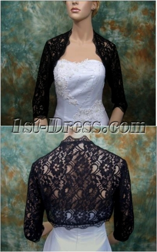 Discount Black Lace 3/4 Sleeves Short Wedding Jacket