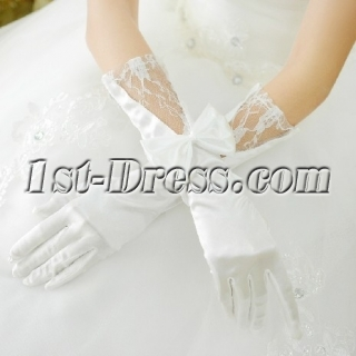 Elbow Lace Wedding Gloves with Bow