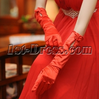 Elbow Length Red Evening Gloves with Keyhole