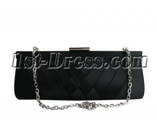 Elegant Black Satin Clutch Bag