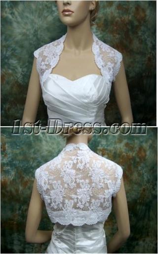 Elegant Short Lace Wedding Jacket with Cap Sleeves