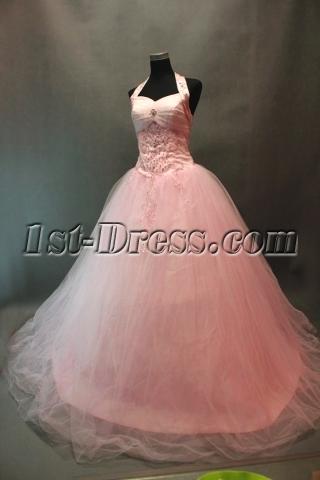 Exquisite Beaded Pink Halter Princess Quinceanera Gowns