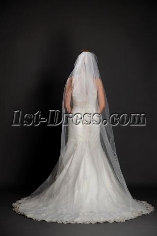 Fashionable 2 Layered Beaded Edging Cathedral Wedding Veils