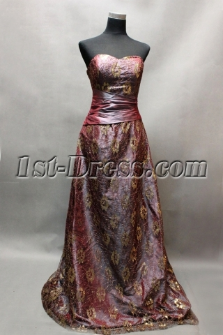 Gold Lace Long Mother of Groom Dress