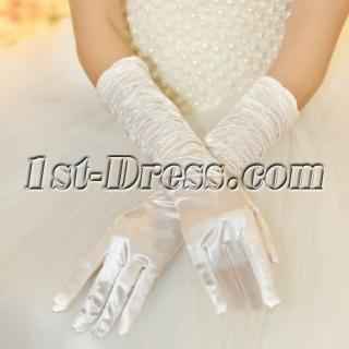 Graceful Ruffled Fingertips Elbow Length Bridal Gloves