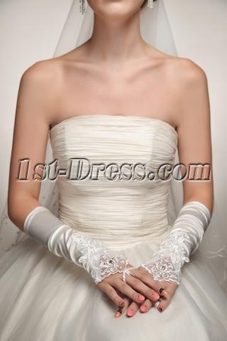 Ivory Beaded Lace Fingerless Gloves