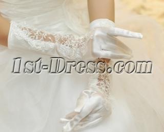 Lace Appliques Long Wedding Gloves