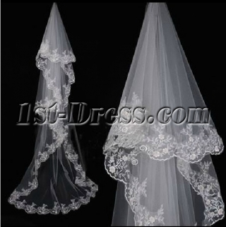 Lace Cathedral Bridal Veil with Train