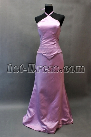 Lilac A-line Halter Mock 2 Piece East Prom Dress