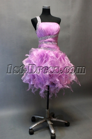 Lilac One Shoulder Short Ruffled Cocktail Dresses with Backless