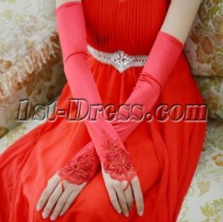Long Fingerless Beaded Red Opera Gloves
