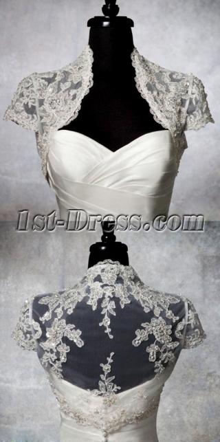 Luxury Beaded Cap Sleeves Wedding Jacket