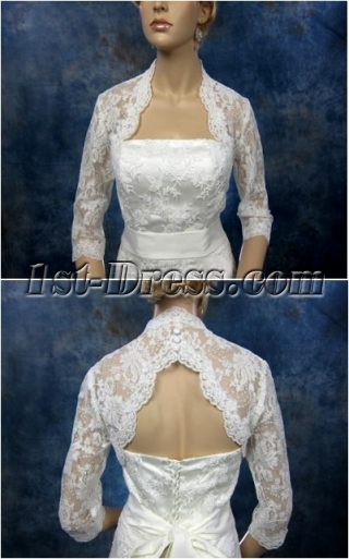 Modern Lace 3/4 Long Sleeves Short Bridal Jacket
