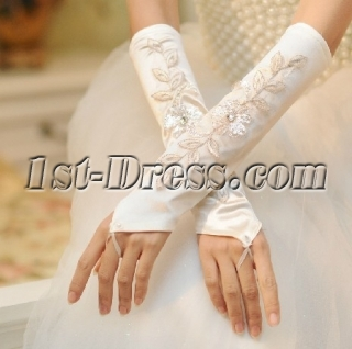 Modest Fingerless Appliques Wedding Gloves