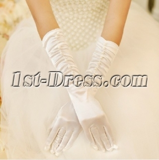 Modest Ruffled Elbow Length Wedding Gloves with Pearl