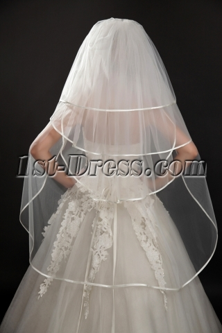 Popular 4 Layered Ribbon Edge Fingertip Wedding Veil
