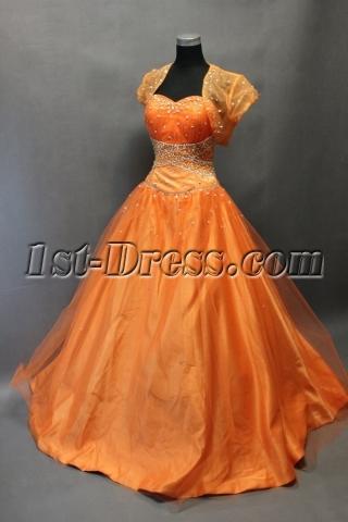 Pretty Orange Organza Long Quinceanera Dress with Bolero