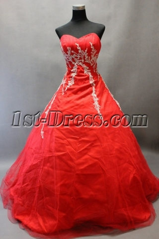Pretty Red Appliques Long Quinceanera Ball Gown Dresses with Train
