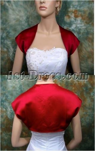 Red Satin Cap Sleeves Short Bridal Bolero